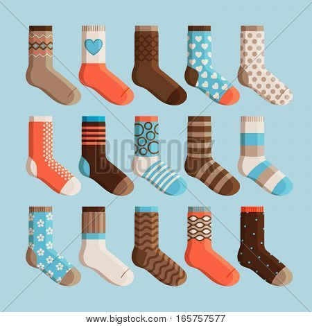 Colorful cartoon cute stylized socks. Kids wear, socks set vector illustration