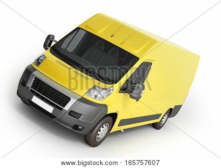 3D Render Of Yellow Delivery Van Icon
