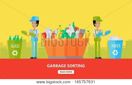Garbage sorting banner. Men sort glass and paper. Waste recycling poster. Sorting process different types of waste vector illustration. Environment protection. Garbage destroying. Flat style design.