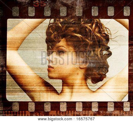 Grunge Filmframe. Retro erschossen. Fashion Art photo