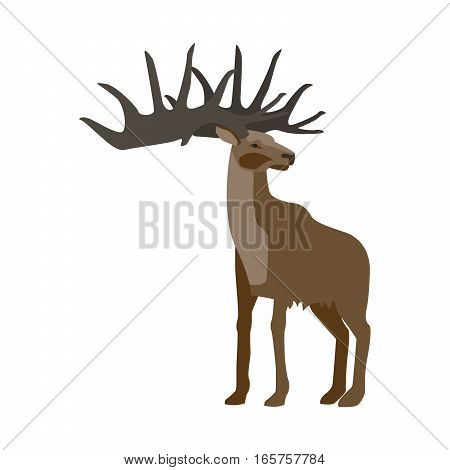 Prehistoric animal. Vector cartoon ancient mammal ice age extinct animal, deer