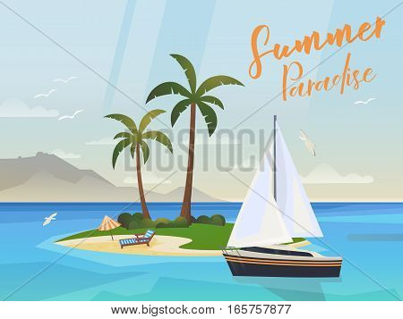 Tropical sea or ocean island. Isle with bay, palm trees and umbrella, yacht or ship on water, deck chair or chaise-longue on sand beach, gull or seagulls, mountain and sunlight beam.Tourism and travel