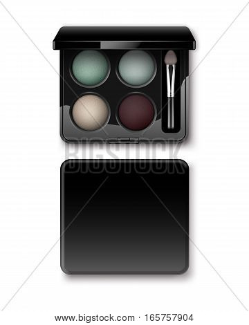 Vector Round MultiColored Pastel Light Cream Blue Turquoise Dark Vinous Eye Shadows in Black Rectangular Plastic Case with Makeup Brush Applicator Top View Isolated on White Background.