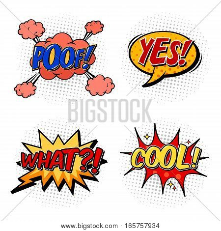 Bubble of cartoon comic speech. Yes exclamation and cool replica, poof cloud for fight and explosion, what question or confusion. Communication symbol or onomatopoeia, pop talk box