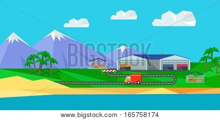 Warehouse on natural landscape. Warehouse interior, logisti and factory building exterior, business delivery, storage cargo vector illustration. Logistics and transportation of cargo.