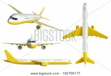 White And Yelow Airplane Set 3D Rendering On White Background