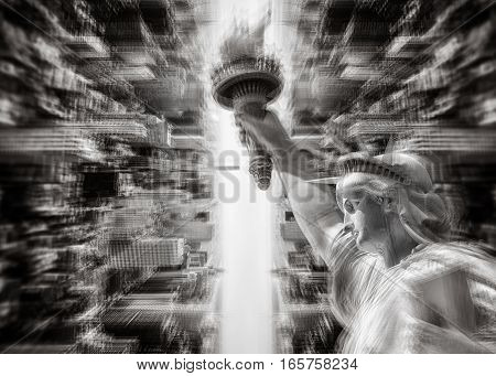 Abstract image of New York City with views of the Manhattan and Statue of Liberty. Multiple Exposure effect