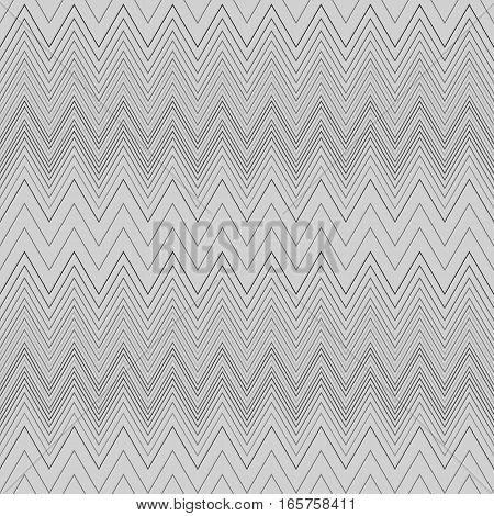 Seamless zigzag hatch pattern. Geometric stripy background. Wedged, striped, line lace texture. Stockings, lingerie, hosiery, garter, undies material theme. Gray soft colored. Vector
