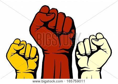Protest, rebel vector revolution art poster. Power revolution for freedom illustration