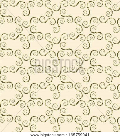 Seamless lace pattern. Vintage abstract texture. Spiral, twirl figures of laurel leaves. Olive, light yellow contrast colored background. Vector