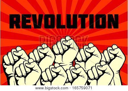 Protest, rebel vector revolution art poster. Banner revolution freedom illustration