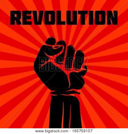 Protest, rebel vector revolution art poster. Design graphic rebellion illustration