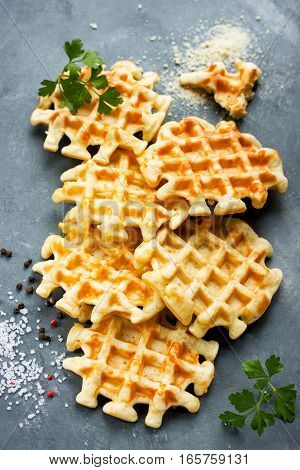 Cheese waffle snack thick waffles with parmesan salt and pepper top view