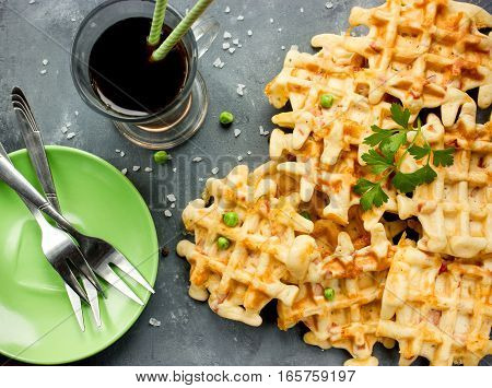 Snack waffles with cheese green peas and sausage
