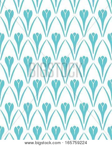 Seamless floral pattern. Crocus vintage background. Flower texture. Turquoise, white contrast colored. Vector