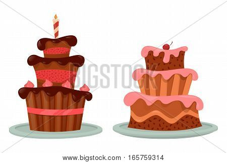 Pastry cakes with candle and cream, chocolate and cherry or berry. Wedding or party, celebration bakery, holiday cupcake with icing. Cook and bakery logo, shop or store banner