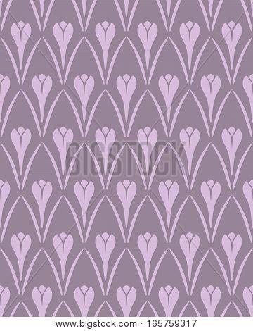 Seamless floral pattern. Crocus vintage background. Flower texture. Violet contrast colored. Vector