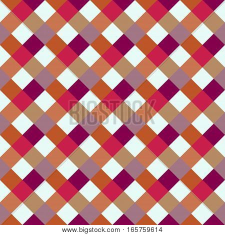 Seamless geometric checked pattern. Diagonal square, woven line background. Rhombus, patchwork texture. Red, lilac, white colored. Vector