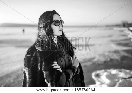Runette Girl Walk Outdoor In The Park