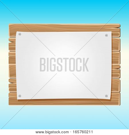 Wooden blank sign board with paper blue sky. Wood billboard poster illustration