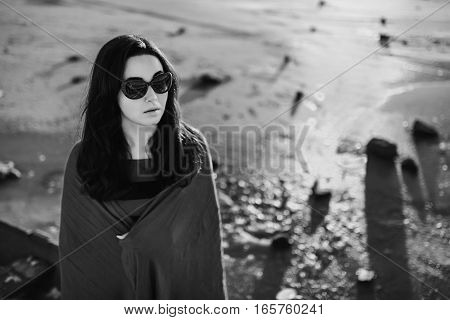 Brunette Girl Standing Outdoor In The Old Boat
