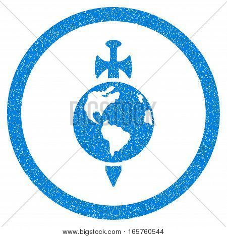 Rounded Earth Guard rubber seal stamp watermark. Icon symbol inside circle with grunge design and scratched texture. Unclean vector blue sticker.