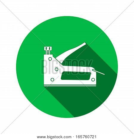 Stapler, staple gun icon. Repair, fix, building, connection, clip tool symbol. Round circle sign with long shadow. Flat design. Vector