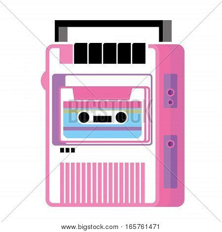 Retro music cassette player, old musical device, gadget