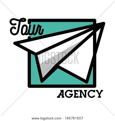 Color vintage tour agency emblem. Concept for travel agency, tropical resort, beach hotel, spa. Summer vacation isolated hand drawn illustration.