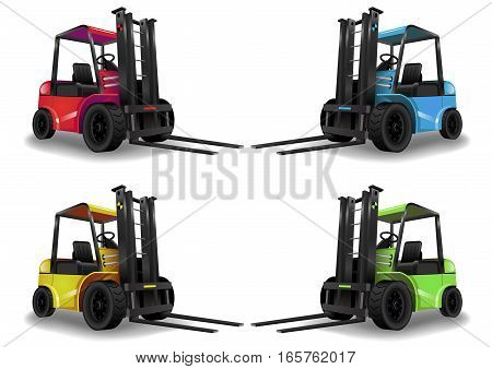 Warehouse forklift green on a white background. Vector graphics. Freight transport