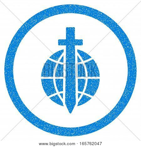 Rounded Global Guard rubber seal stamp watermark. Icon symbol inside circle with grunge design and dirty texture. Unclean vector blue emblem.