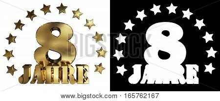 Golden digit eight and the word of the year decorated with stars. Translated from the German. 3D illustration