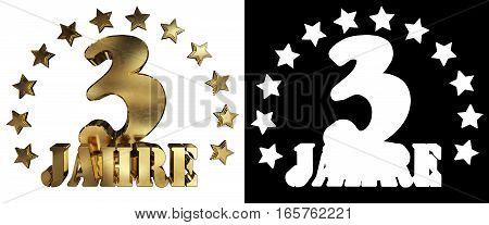 Golden digit three and the word of the year decorated with stars. Translated from the German. 3D illustration