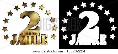 Golden digit two and the word of the year decorated with stars. Translated from the German. 3D illustration
