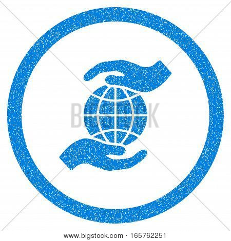 Rounded Global Insurance rubber seal stamp watermark. Icon symbol inside circle with grunge design and dust texture. Unclean vector blue sign.