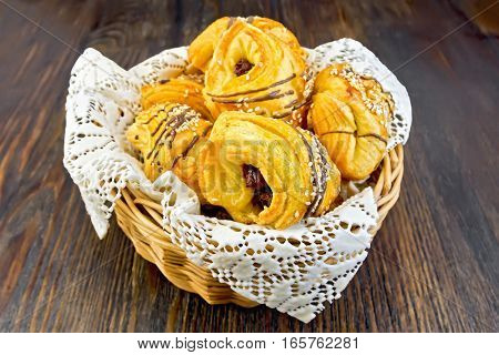 Cookies With Dates In Basket On Dark Board