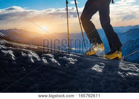 Detail of Walking with ski mountaineering at sunset