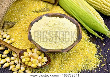 Flour Corn In Bowl With Grits And Grain On Board