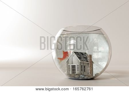 3d illustration of a fishbowl house isolated on white background
