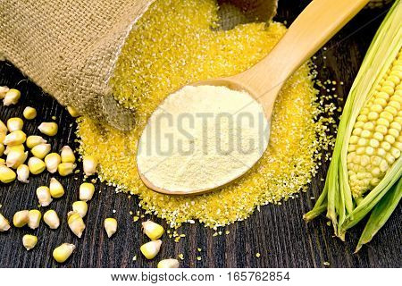 Flour Corn In Spoon With Grains On Dark Board
