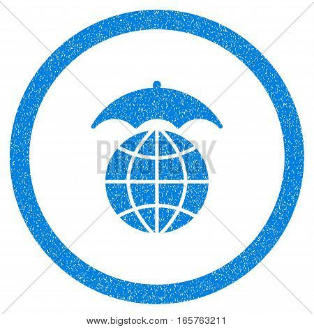 Rounded Global Umbrella rubber seal stamp watermark. Icon symbol inside circle with grunge design and unclean texture. Unclean vector blue sign.