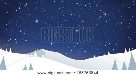 Winter mountain scenery with pine trees and snowy hills - night scenery