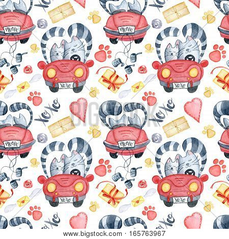Valentine's Day greeting card template seamless pattern poster wrapping paper. Watercolor cats in just married red car and brush lettering xoxo presents and gifts red hearts