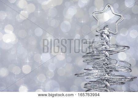 Metallic Modern Christmas Tree On Silver Tint Light Bokeh Background, Xmas Holiday