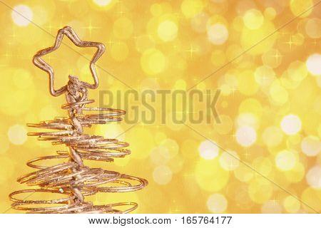 Metallic Modern Christmas Tree On Golden Tint Light Bokeh Background, Xmas Holiday