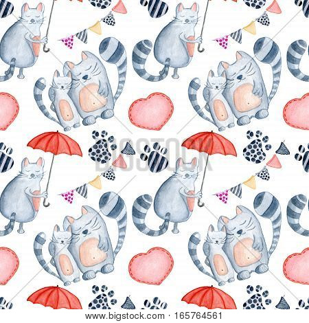 Valentine's Day greeting card template seamless pattern poster wrapping paper. Watercolor cats couple with red umbrella footprint hearts and other romantic elements