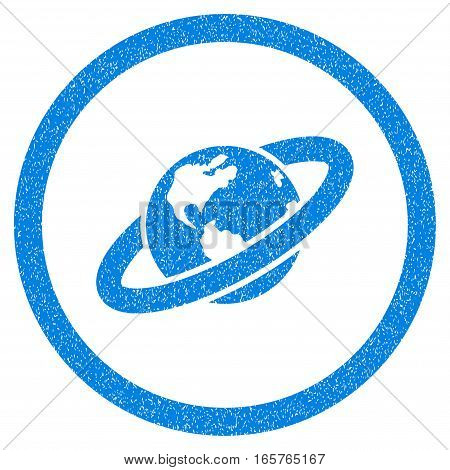Rounded Ringed Planet rubber seal stamp watermark. Icon symbol inside circle with grunge design and unclean texture. Unclean vector blue sign.