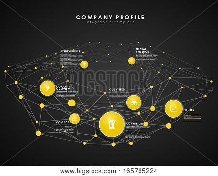 Company profile overview template with yellow circles and dots - dark version.