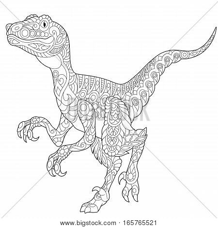 Stylized velociraptor dinosaur of the late Cretaceous period isolated on white background. Freehand sketch for adult anti stress coloring book page with doodle and zentangle elements.