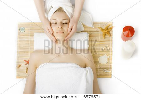 portrait of young beautiful woman in spa environment poster